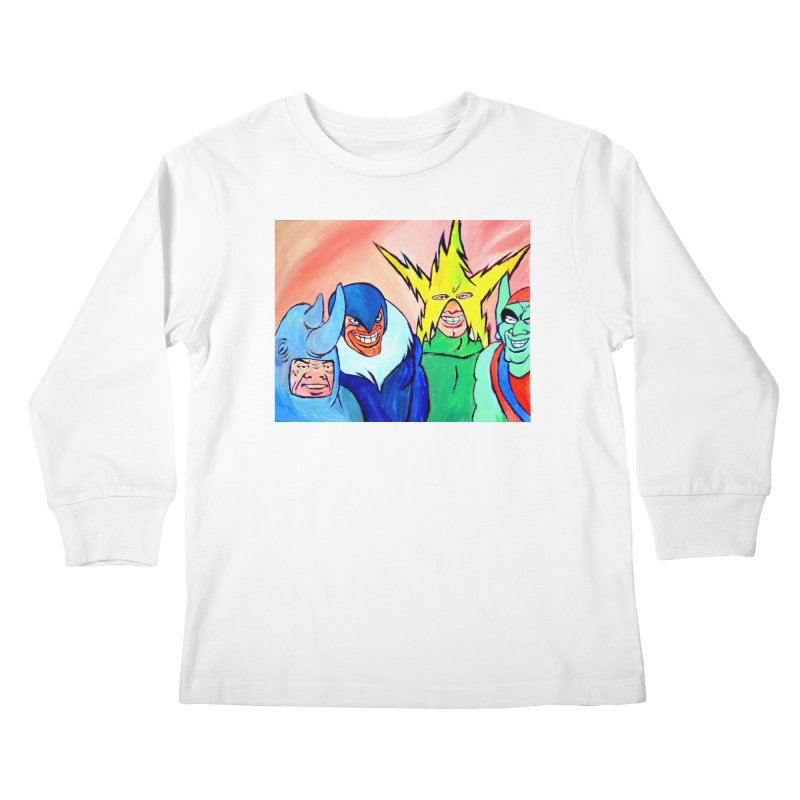 me and the boys Kids Longsleeve T-Shirt by paintings by Seamus Wray