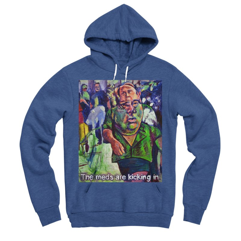 meds are kicking in Men's Sponge Fleece Pullover Hoody by paintings by Seamus Wray