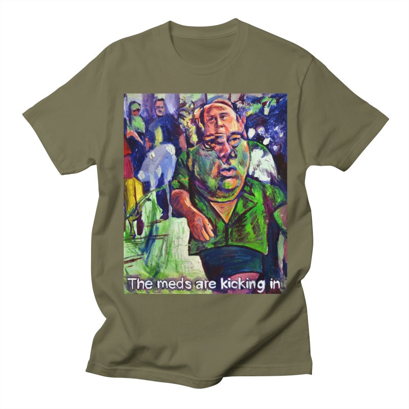 meds are kicking in Men's Regular T-Shirt by paintings by Seamus Wray