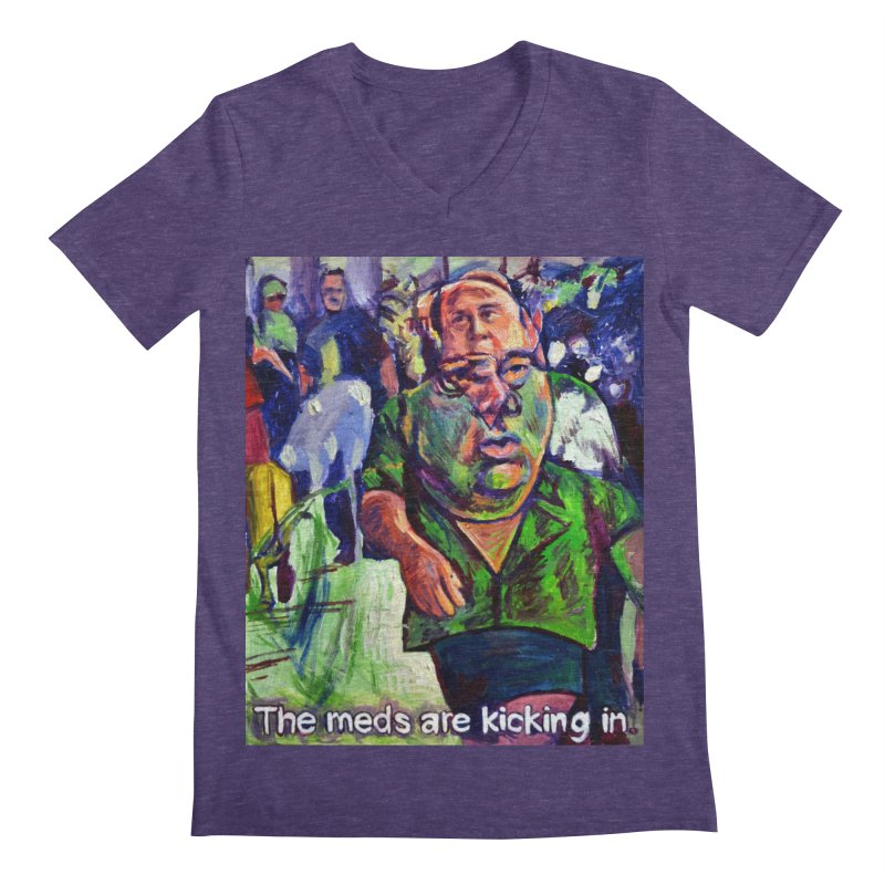 meds are kicking in Men's Regular V-Neck by paintings by Seamus Wray
