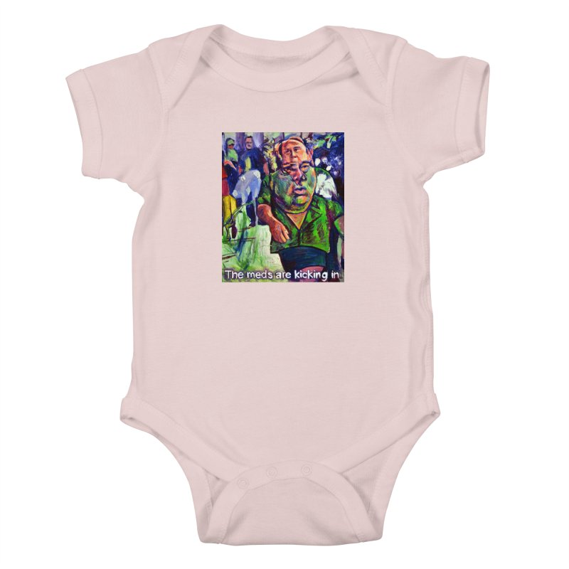meds are kicking in Kids Baby Bodysuit by paintings by Seamus Wray