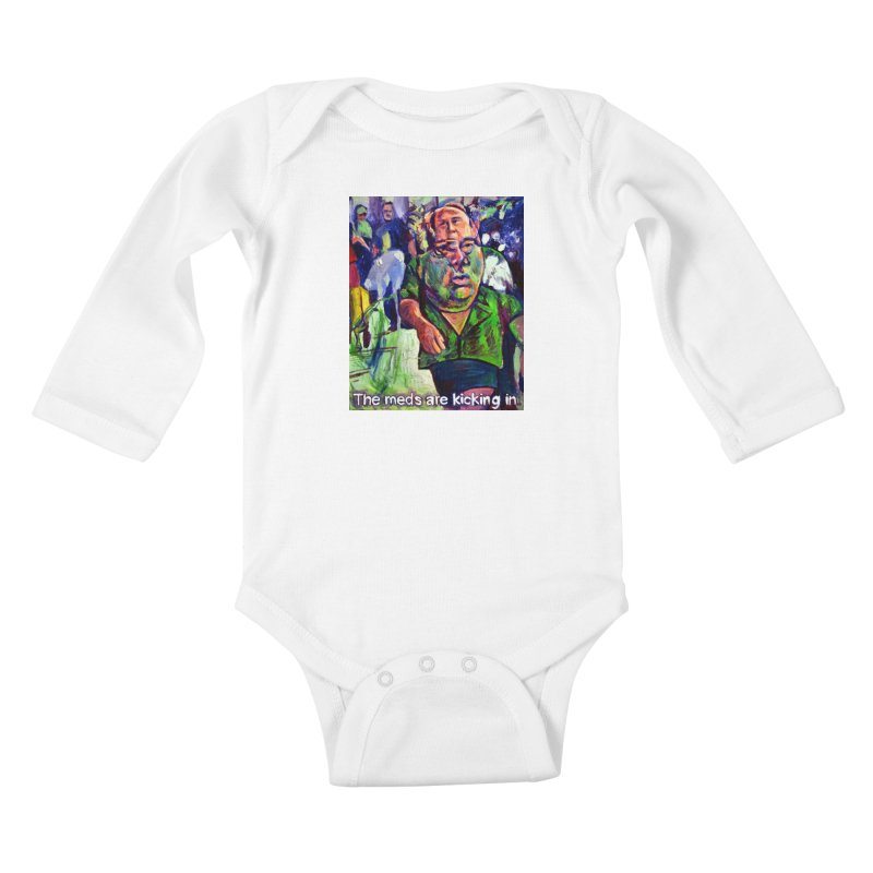 meds are kicking in Kids Baby Longsleeve Bodysuit by paintings by Seamus Wray