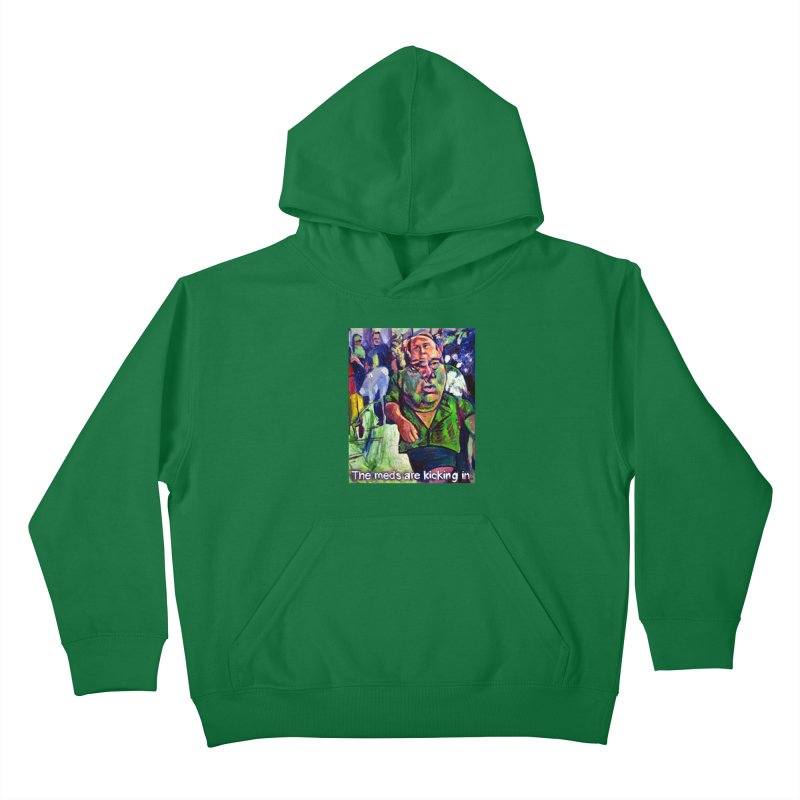 meds are kicking in Kids Pullover Hoody by paintings by Seamus Wray