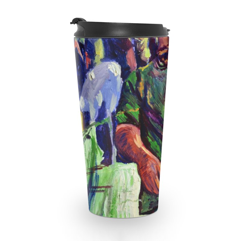 meds are kicking in Accessories Travel Mug by paintings by Seamus Wray