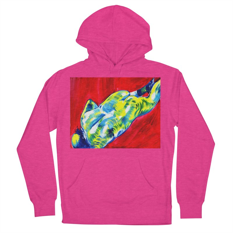 nude Men's French Terry Pullover Hoody by paintings by Seamus Wray