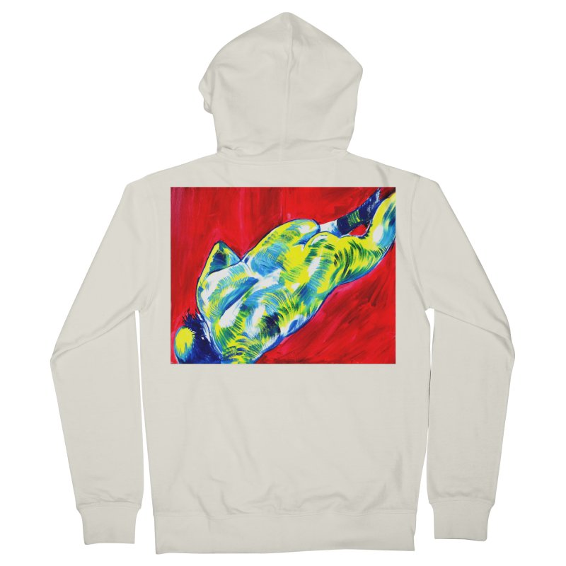 nude Women's French Terry Zip-Up Hoody by paintings by Seamus Wray