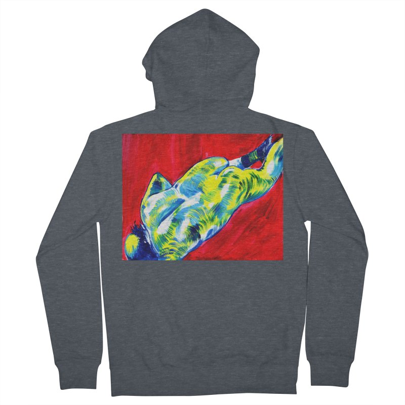 nude Men's French Terry Zip-Up Hoody by paintings by Seamus Wray