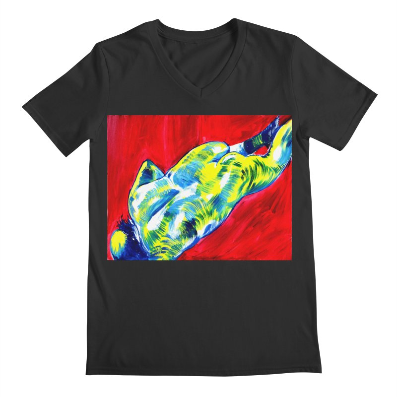 nude Men's Regular V-Neck by paintings by Seamus Wray