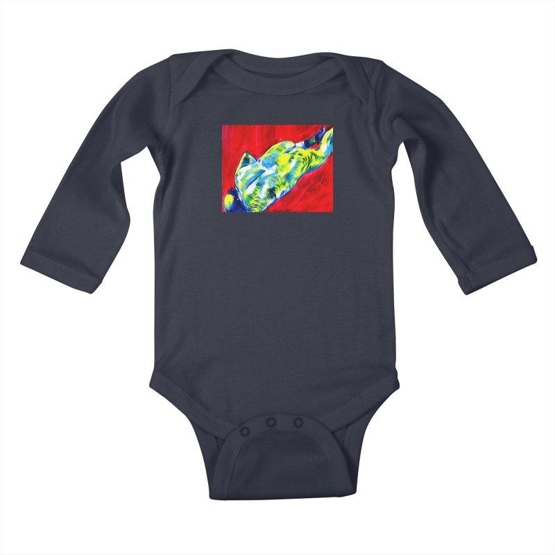 nude Kids Baby Longsleeve Bodysuit by paintings by Seamus Wray