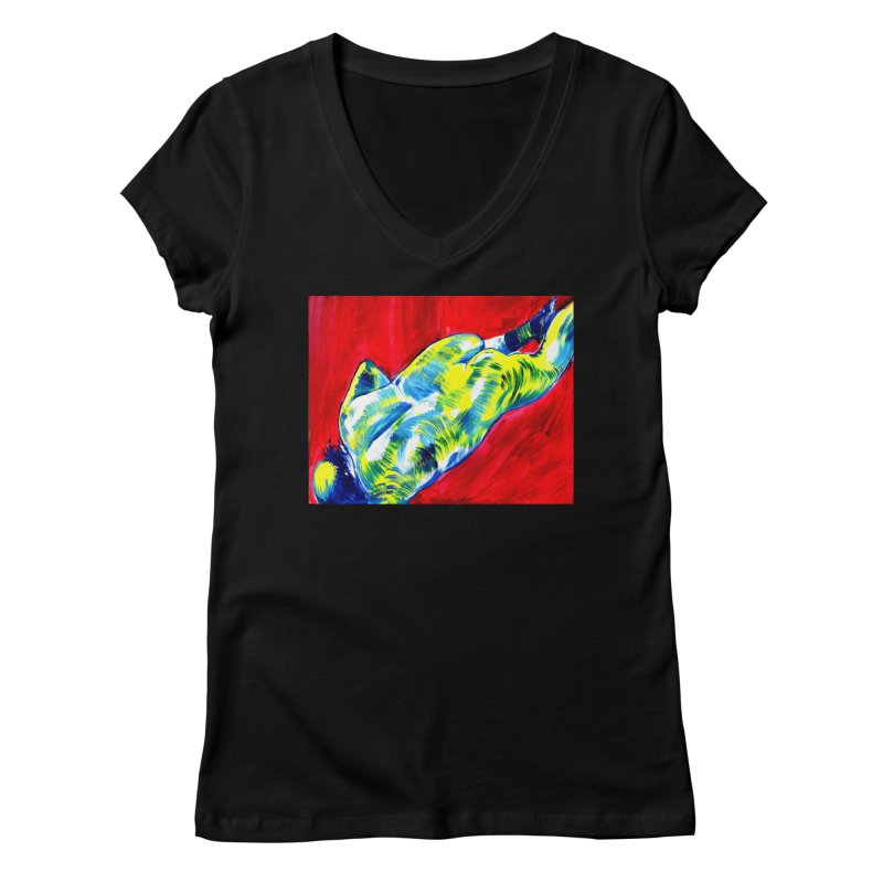 nude Women's V-Neck by paintings by Seamus Wray