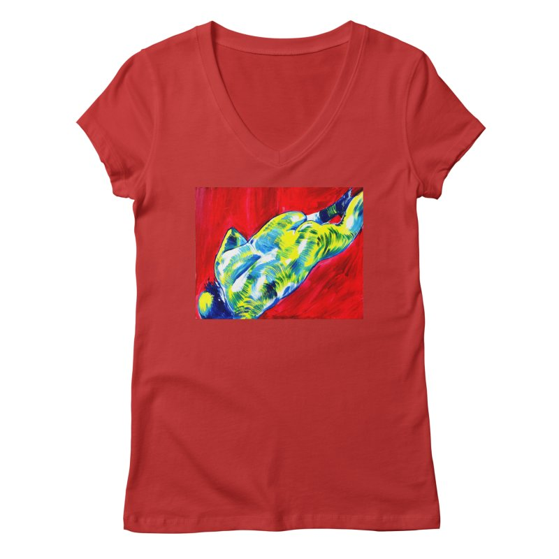nude Women's Regular V-Neck by paintings by Seamus Wray