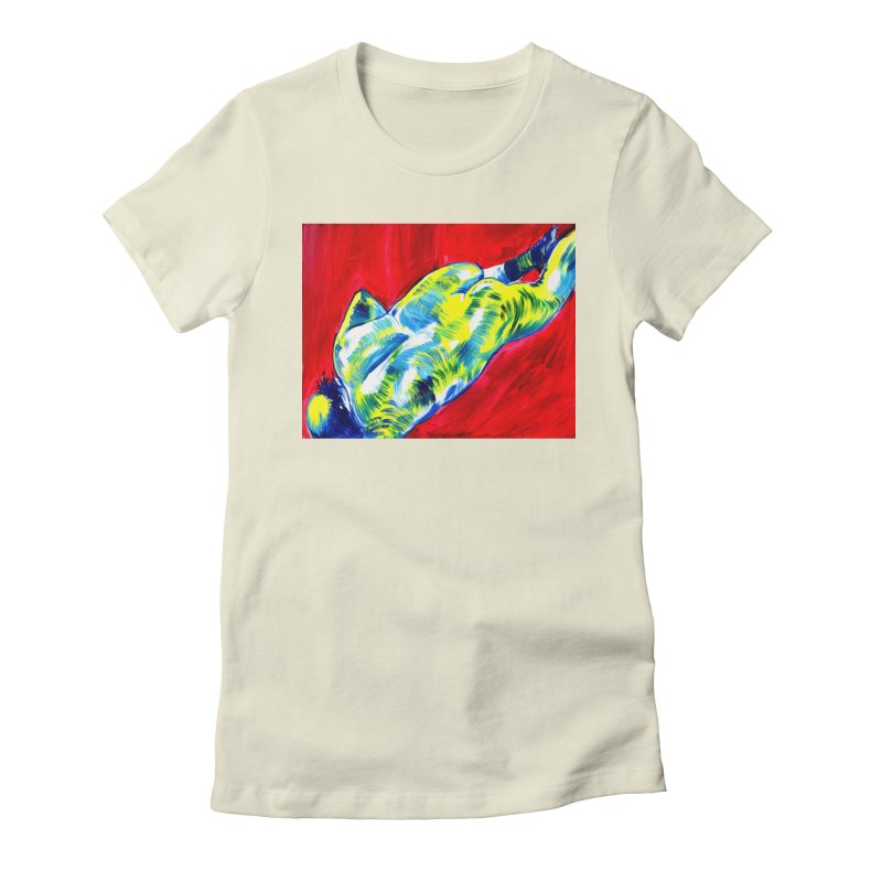 nude Women's Fitted T-Shirt by paintings by Seamus Wray