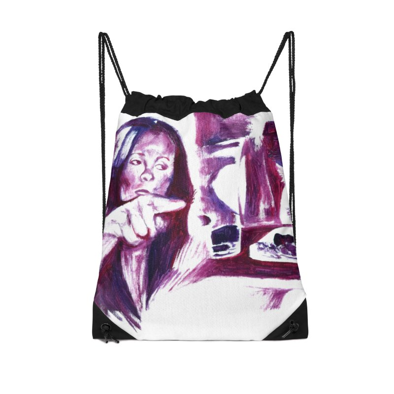 confused Accessories Drawstring Bag Bag by paintings by Seamus Wray
