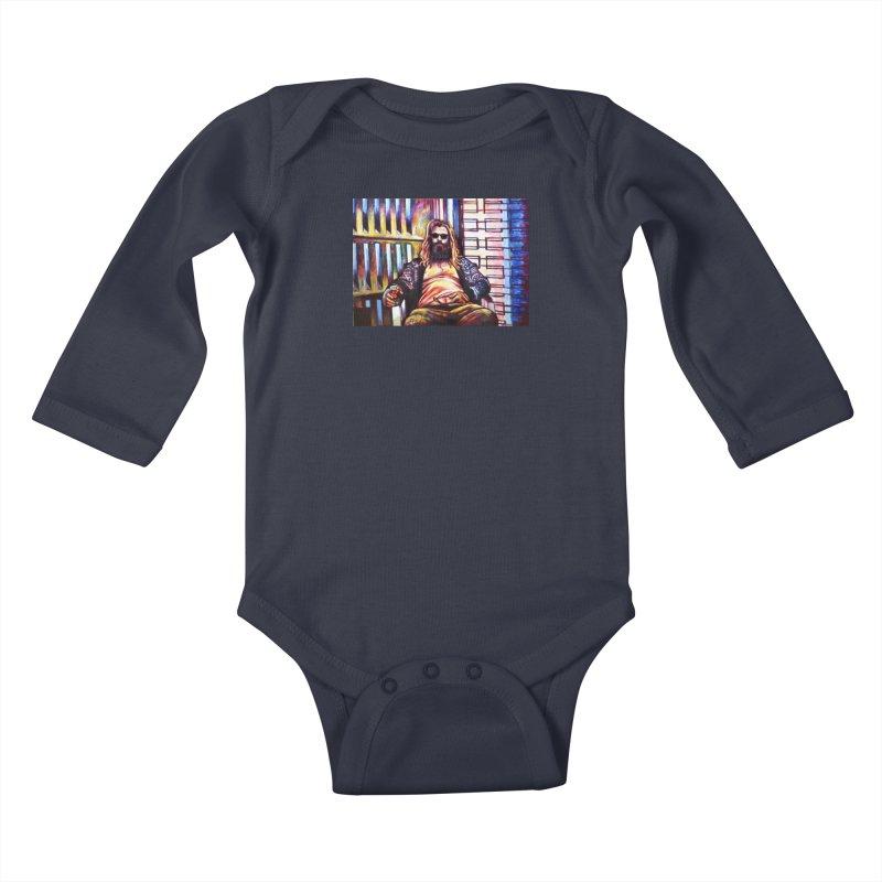 fat thor Kids Baby Longsleeve Bodysuit by paintings by Seamus Wray