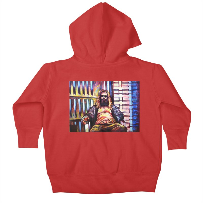 fat thor Kids Baby Zip-Up Hoody by paintings by Seamus Wray