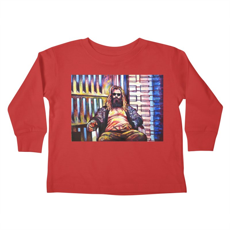 fat thor Kids Toddler Longsleeve T-Shirt by paintings by Seamus Wray
