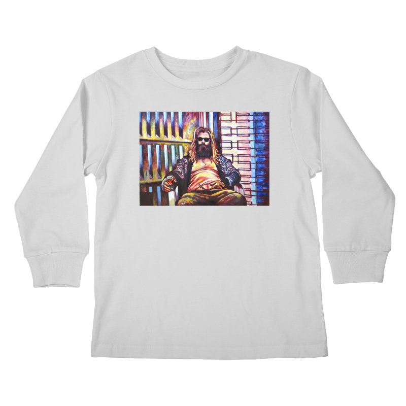 fat thor Kids Longsleeve T-Shirt by paintings by Seamus Wray