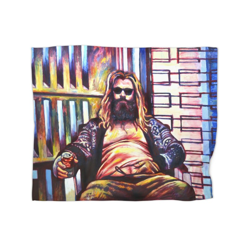 fat thor Home Fleece Blanket Blanket by paintings by Seamus Wray