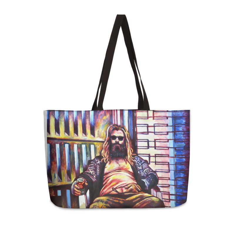 fat thor Accessories Weekender Bag Bag by paintings by Seamus Wray