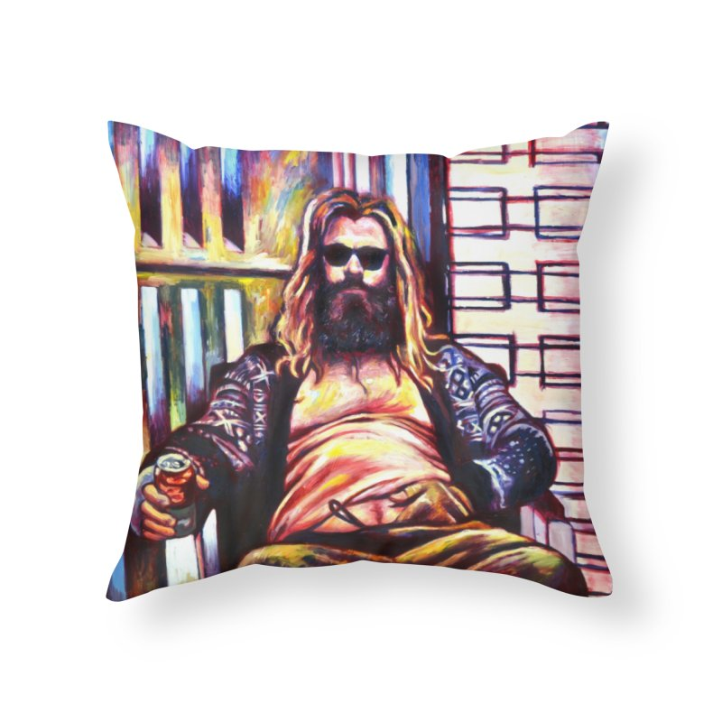 fat thor Home Throw Pillow by paintings by Seamus Wray