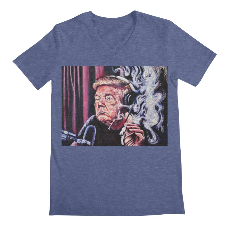 smoking donald Men's Regular V-Neck by paintings by Seamus Wray