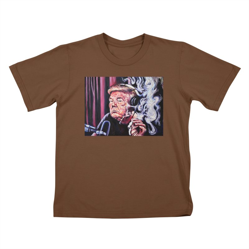 smoking donald Kids T-Shirt by paintings by Seamus Wray