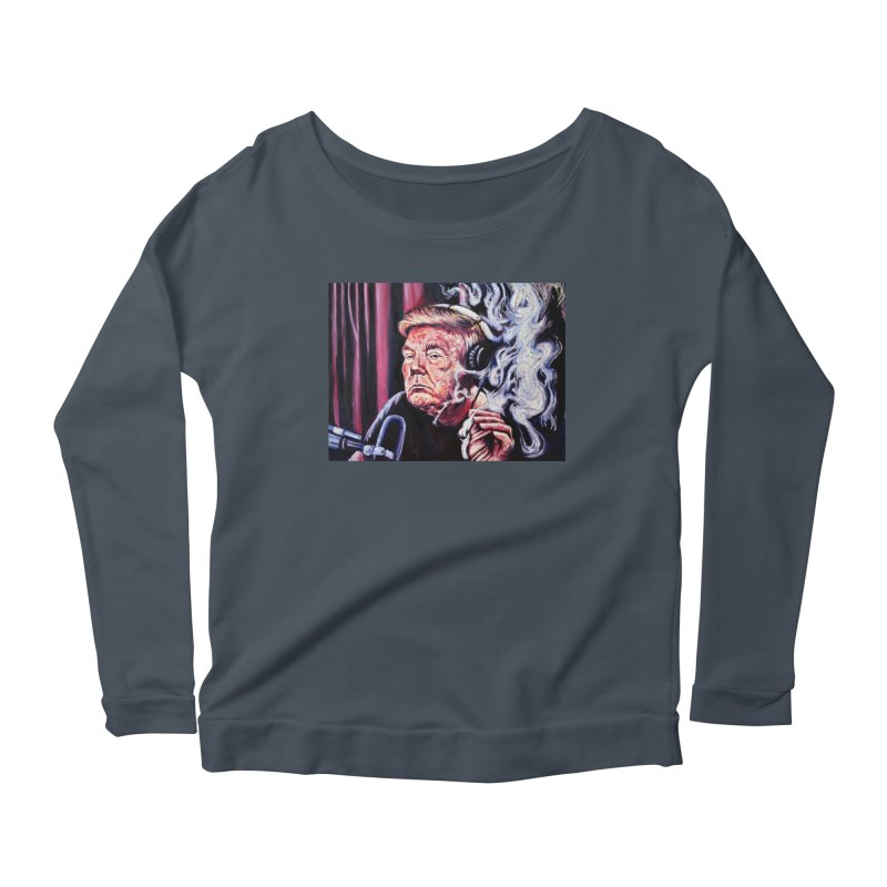 smoking donald Women's Scoop Neck Longsleeve T-Shirt by paintings by Seamus Wray