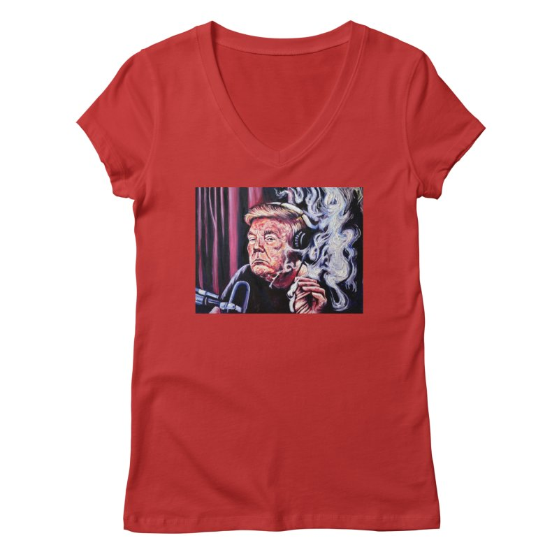 smoking donald Women's Regular V-Neck by paintings by Seamus Wray