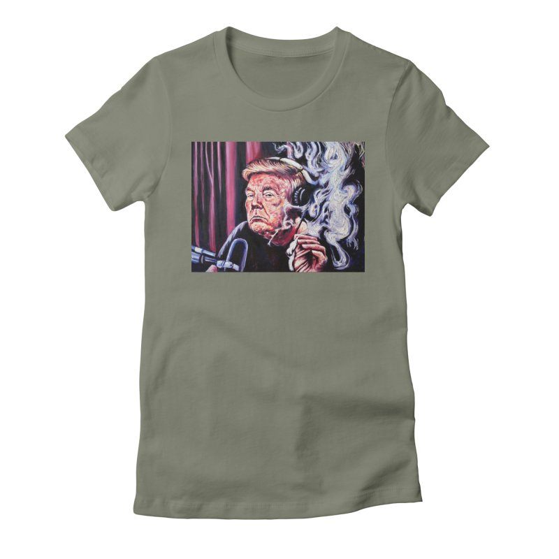 smoking donald Women's Fitted T-Shirt by paintings by Seamus Wray