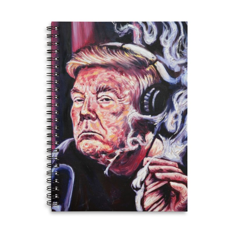 smoking donald Accessories Lined Spiral Notebook by paintings by Seamus Wray
