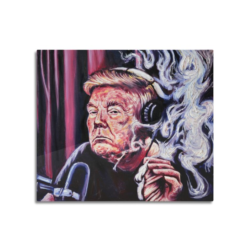 smoking donald Home Mounted Aluminum Print by paintings by Seamus Wray