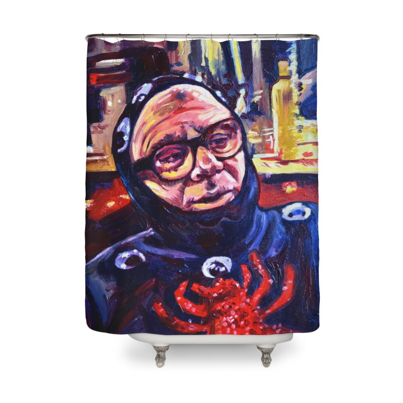 man-spider Home Shower Curtain by paintings by Seamus Wray
