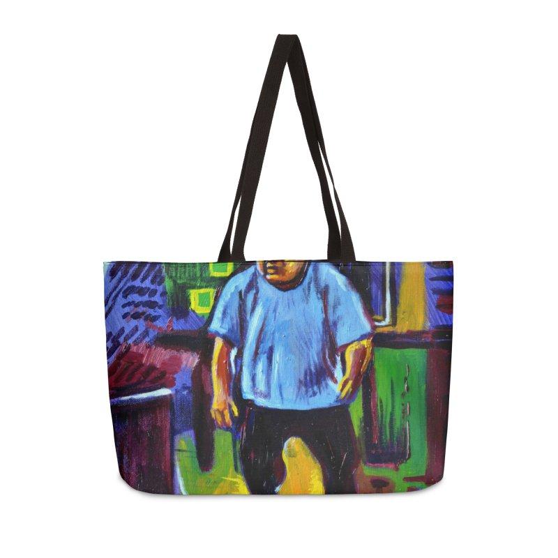 dangling Accessories Weekender Bag Bag by paintings by Seamus Wray
