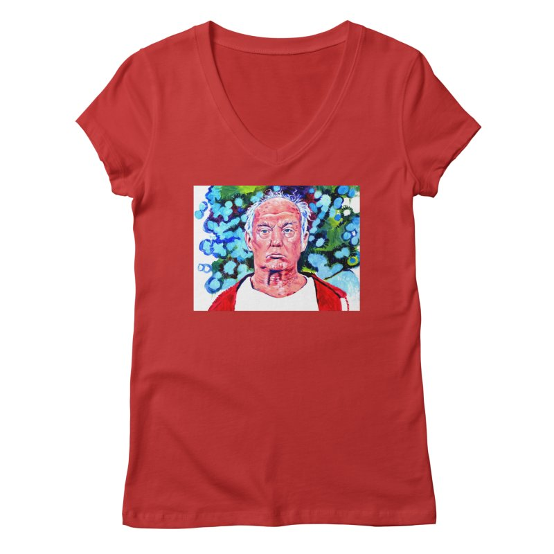 old man trump Women's Regular V-Neck by paintings by Seamus Wray