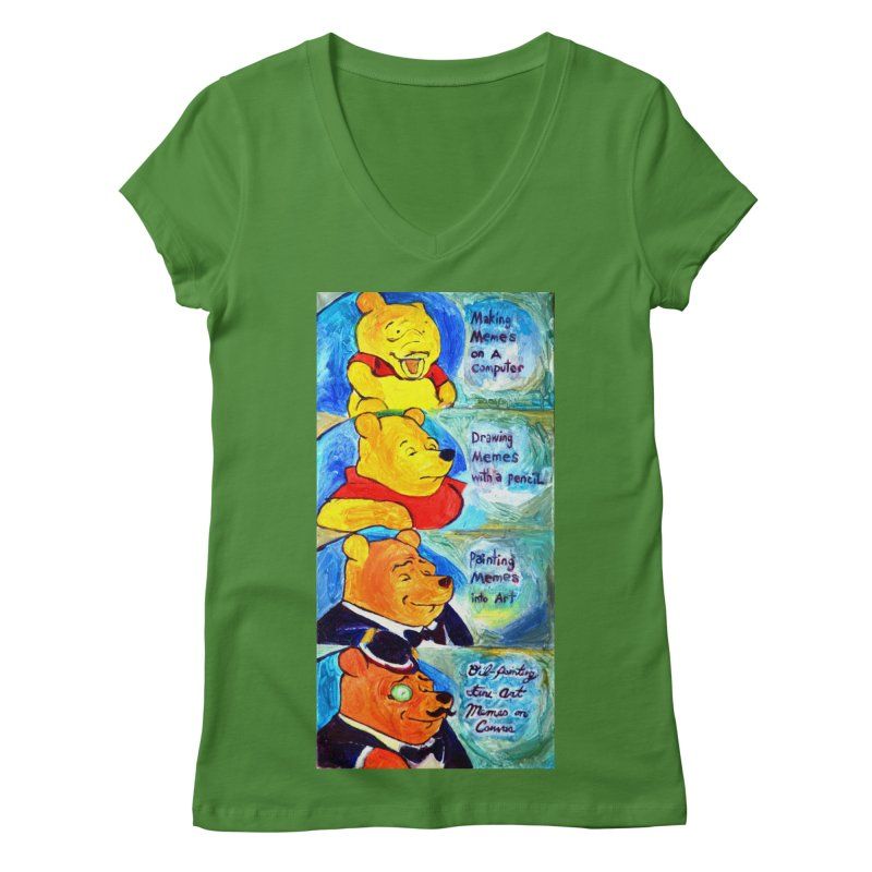 pooh Women's Regular V-Neck by paintings by Seamus Wray