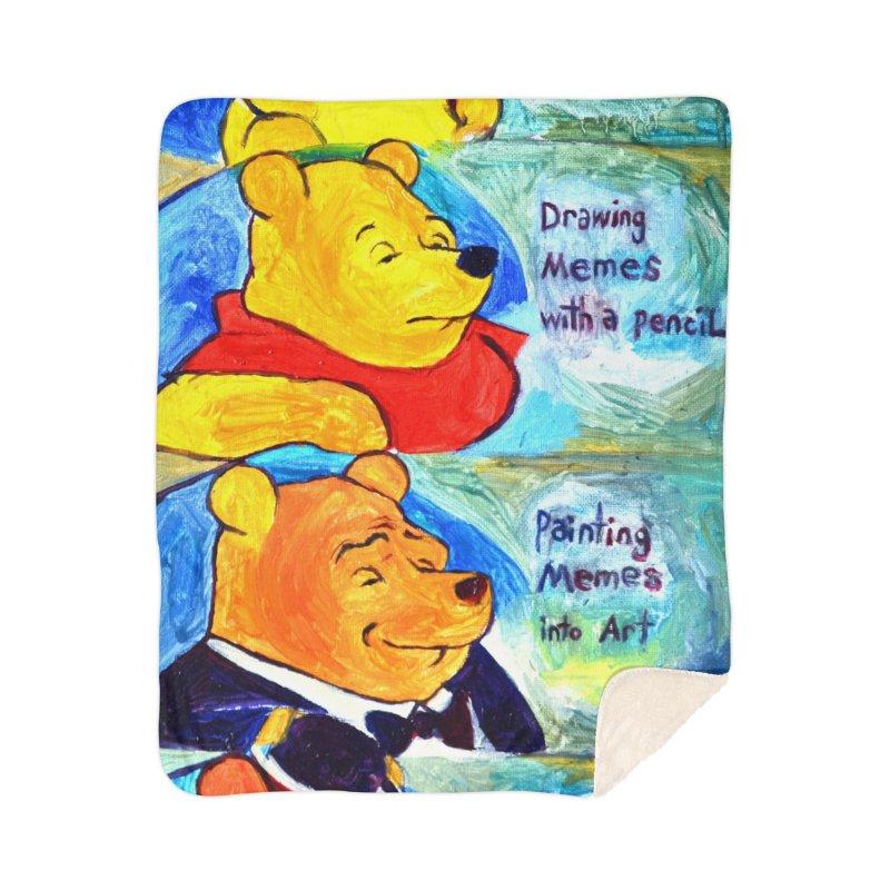pooh Home Sherpa Blanket Blanket by paintings by Seamus Wray