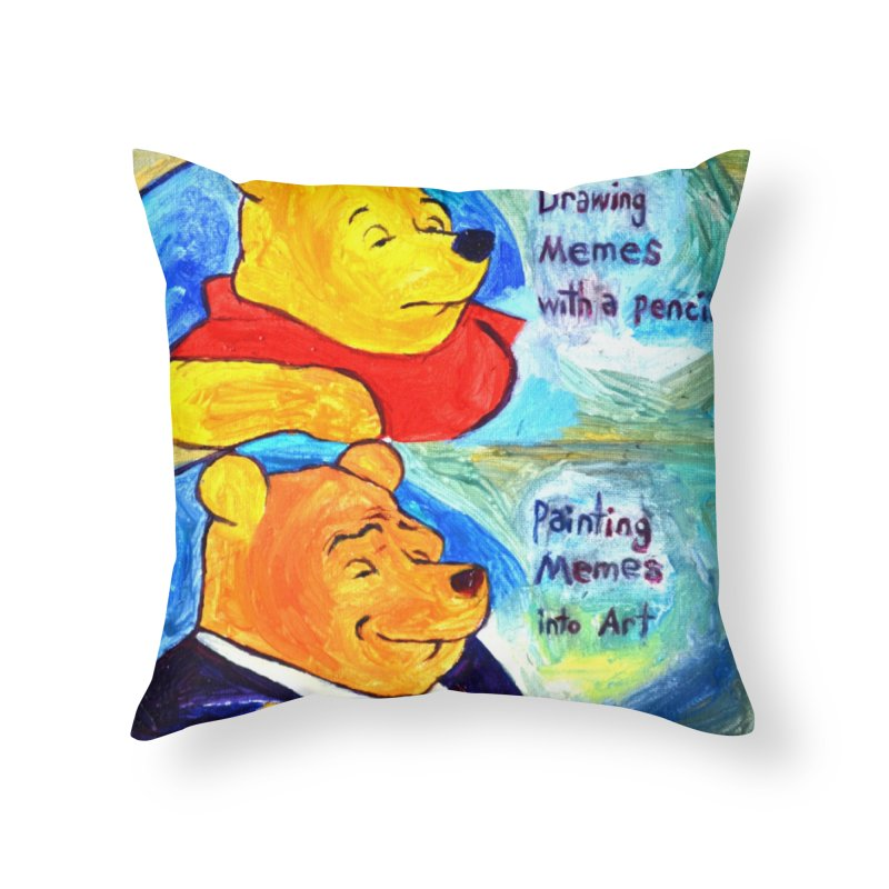pooh Home Throw Pillow by paintings by Seamus Wray