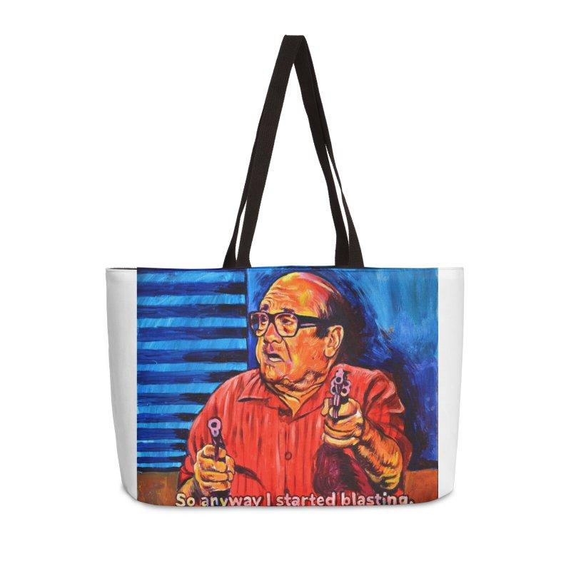 blasting Accessories Weekender Bag Bag by paintings by Seamus Wray