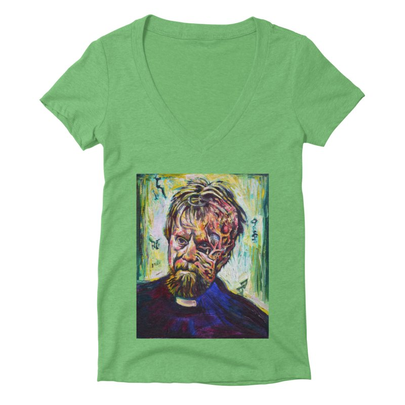 father mara Women's Deep V-Neck V-Neck by paintings by Seamus Wray