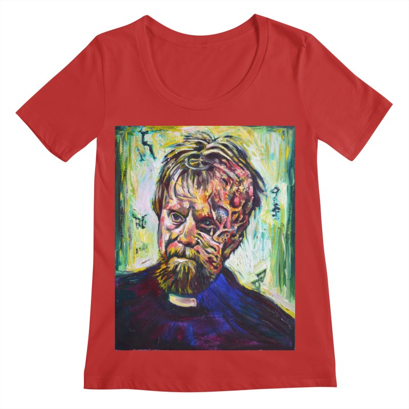 father mara Women's Regular Scoop Neck by paintings by Seamus Wray