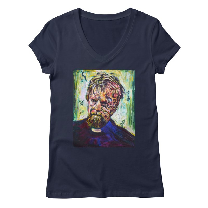 father mara Women's Regular V-Neck by paintings by Seamus Wray