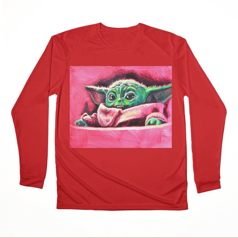 baby yoda Men's Performance Longsleeve T-Shirt by paintings by Seamus Wray