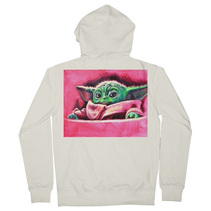 baby yoda Women's French Terry Zip-Up Hoody by paintings by Seamus Wray