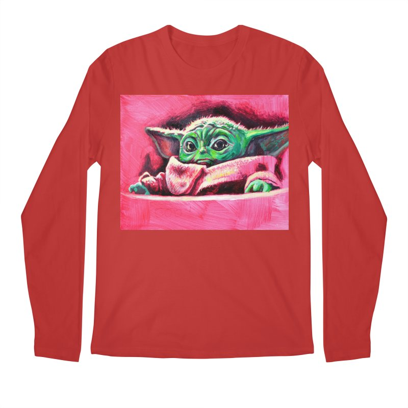 baby yoda Men's Regular Longsleeve T-Shirt by paintings by Seamus Wray