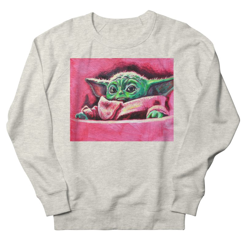 baby yoda Men's French Terry Sweatshirt by paintings by Seamus Wray