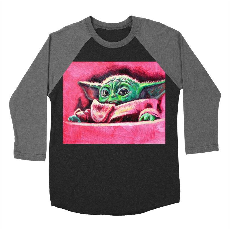 baby yoda Women's Baseball Triblend Longsleeve T-Shirt by paintings by Seamus Wray