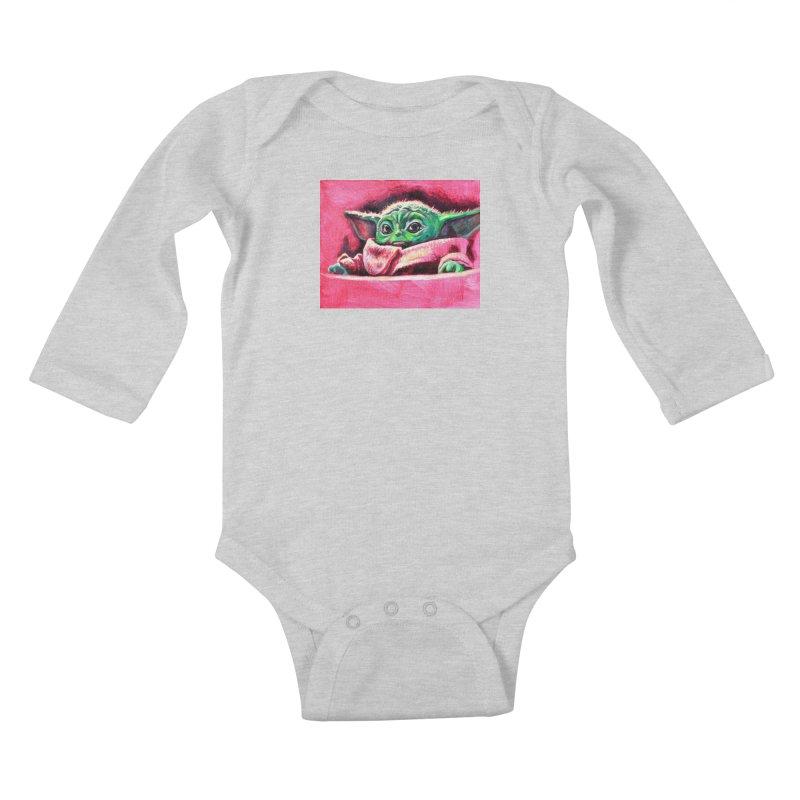 baby yoda Kids Baby Longsleeve Bodysuit by paintings by Seamus Wray