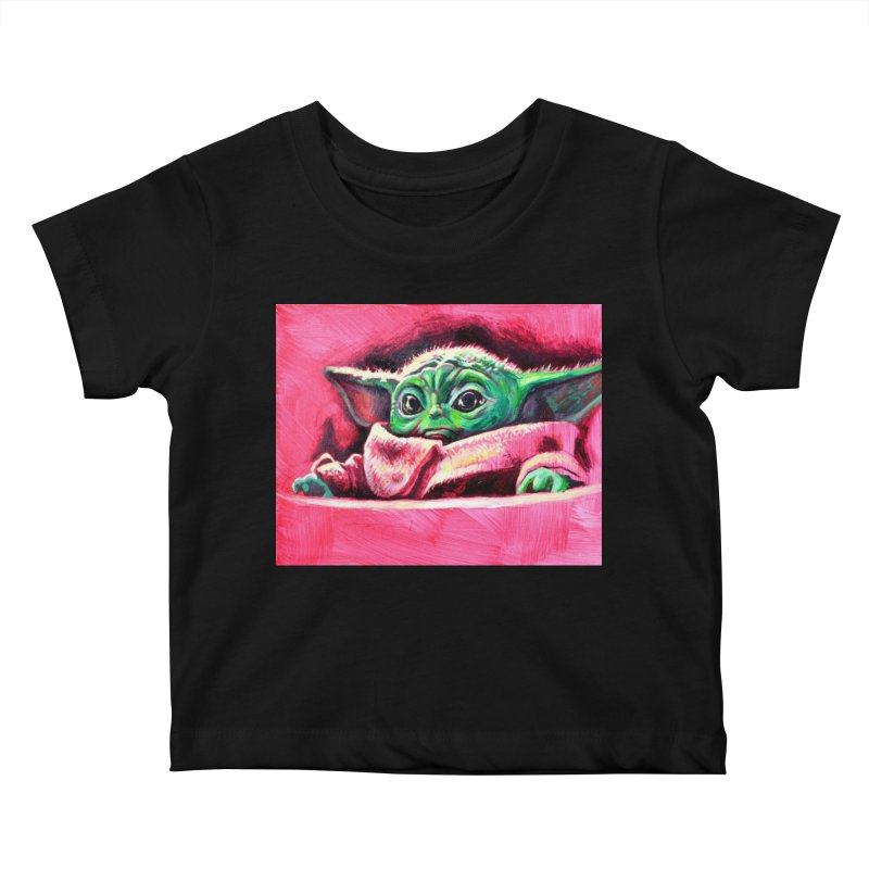 baby yoda Kids Baby T-Shirt by paintings by Seamus Wray