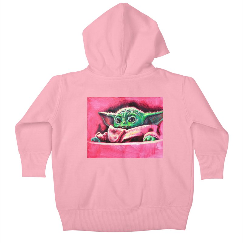 baby yoda Kids Baby Zip-Up Hoody by paintings by Seamus Wray