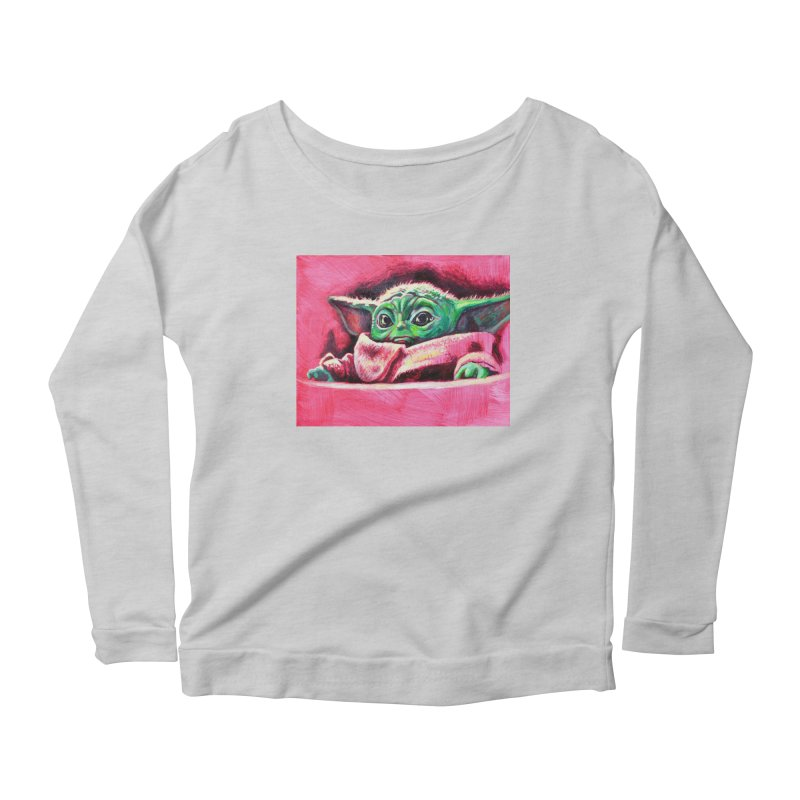 baby yoda Women's Scoop Neck Longsleeve T-Shirt by paintings by Seamus Wray